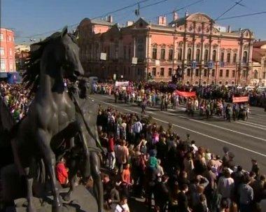 Desfile no dia da vitória — Vídeo stock