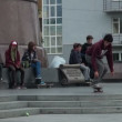 Stock Video: Skateboarders in park