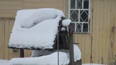 Dřevěný dům v zimním lese — Stock video