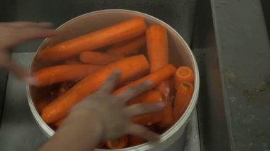 Carrot in a saucepan — Stock Video