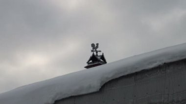 Weather-vane on the roof — Stock Video
