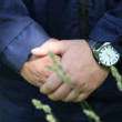 Men's hands clasped in castle — Stock Video