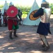 Stock Video: Battle sword fight medieval warriors