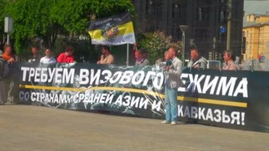 Rally for visa regime in Russia — Stock Video