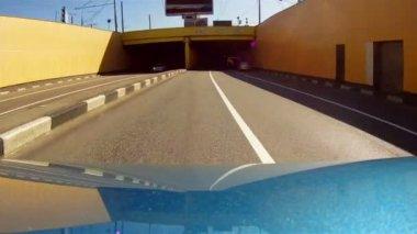 Journey under the ferroconcrete bridge — Stock Video