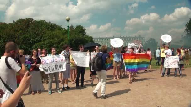 Las gay parade y rally de las minorías sexuales — Vídeo de stock