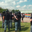 Stock Video: Police guarding homosexual and lesbian
