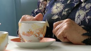 Hands of an elderly woman — Stock Video