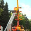 Extreme swing at amusement park — Stock Video #31701845
