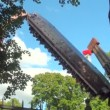 Extreme swing at amusement park — Stock Video #31702659