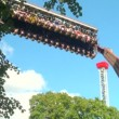 Extreme swing at amusement park — Stock Video #31703831