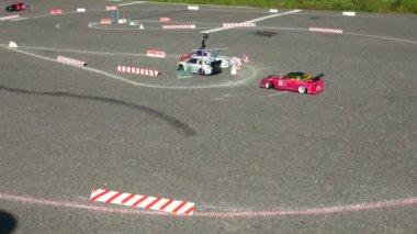 Mini Cars racing on track — Stock Video
