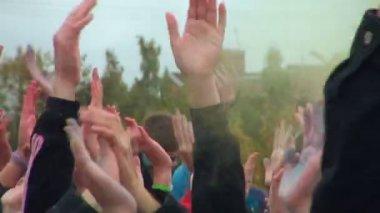 Multi-colored hands — Stock Video