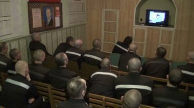 Prisoners And Convicted Persons Watching Tv — Stock Video
