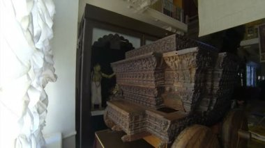 Cart Of Carved Wood. Kunstkamera. Saint-Petersburg — Stock Video