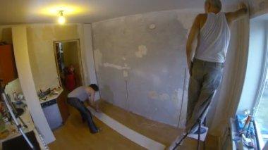 Repair. Facing The Wall Panels. — ストックビデオ