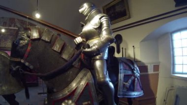 A Knight In Armor On Horseback — Stock Video