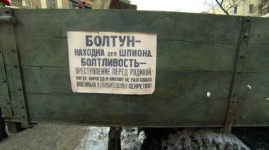 Propaganda Posters In The Blockade Leningrad. — Stock Video