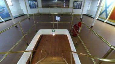Staircase between decks on the cruiser Aurora — Stock Video
