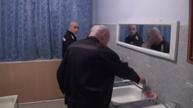 Prisoners And Convicted Persons Wash And Brush Their Teeth — Stock Video
