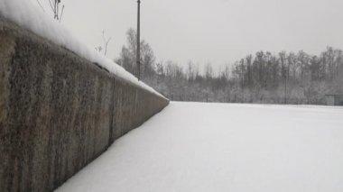 The Snow On The Asphalt To The Curb — Vídeo de stock
