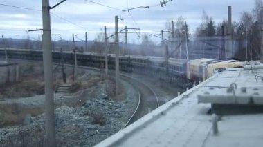 Cargo freigt train railroad — Stock Video