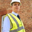 Stock Photo: An architect, surveyor or inspector outside a property