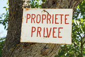 Propriete Privee or Private Property sign in French — Stock Photo