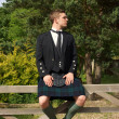 Stock Photo: Scotsman in full dress kilt wear