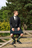 Scotsman in full dress kilt wear — Stock Photo
