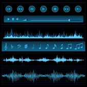 Notes and sound waves. Music background. — Stock Vector