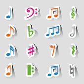 Vector music note icon on sticker set. — Vector de stock