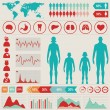 Medical infographic set with charts and other elements. Vector i — Stock Vector
