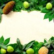 Tropical fruits on green leaves — Stock Photo #12011475