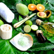 Tropical Asian spa supplies on green leaves — Stock Photo #12231930