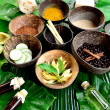 Spices for Asian spa.with tropical flower — Stok fotoğraf