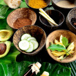Spices for Asian spa.with tropical flower — Stock Photo
