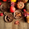 Pumpkins,apples and spices — Stock Photo #15717855