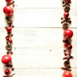 Red apples with Christmas ornament — Stock Photo