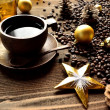 Coffee cup with Xmas ornaments — Stok fotoğraf