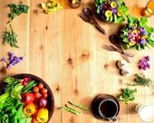 Frame of vegetables with salad — Stock Photo