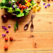 Stock Photo: Fresh vegetables with spring flowers