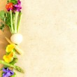 Fresh vegetables with spring flowers — Stock Photo #18696295
