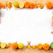 Marigold,mango,orange and incense.frame — Stock Photo