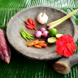 Stock Photo: Indonesifood spices on millstone