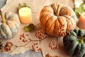 Pumpkins with candles — Stock Photo
