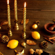 Candle,lemon and aromatherapy supplies on Christmas season — Stock Photo