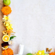 Asian tropical flowers with spa supplies — Stock Photo
