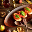 Bruschettwith wine glass — Stock Photo #30534483