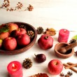 Red apples with fall leaves — Stock Photo